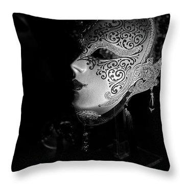 Mardi Gras Mask  B-w Throw Pillow by Christopher Holmes