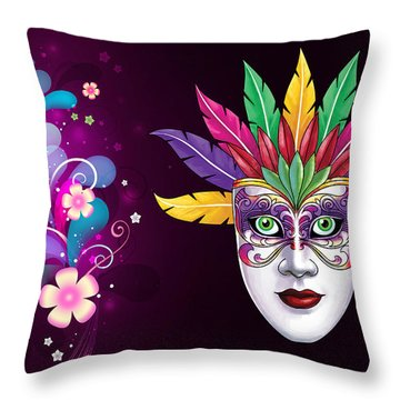 Throw Pillow featuring the photograph Mardi Gras Mask On Floral Background by Gary Crockett