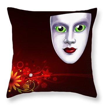 Mardi Gras Mask Red Vines Throw Pillow