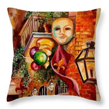 Mardi Gras Night Throw Pillow by Diane Millsap