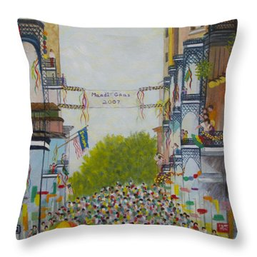 Mardi Gras On Bourbon Street Throw Pillow by Douglas Ann Slusher