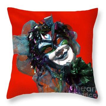 Throw Pillow featuring the photograph Mardi Gras Smile Pop Art by John Rizzuto
