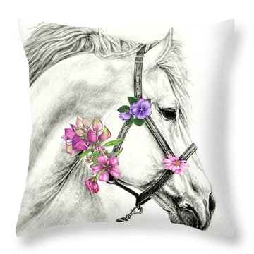 Mare With Flowers Throw Pillow