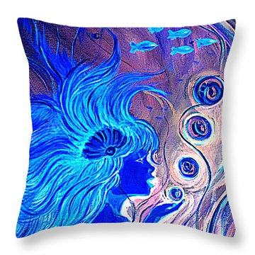 Throw Pillow featuring the painting Maremaid  by Yolanda Rodriguez