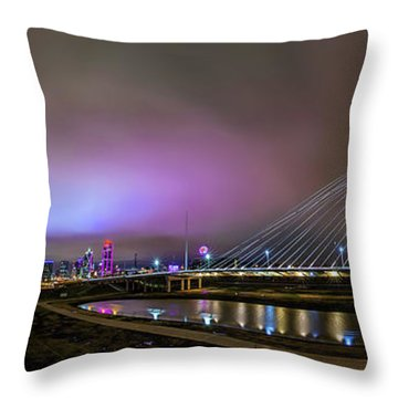 Margaret Hunt Hill Bridge - Dallas Texas Throw Pillow by Micah Goff