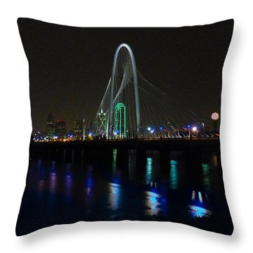 Margaret Hunt Hill Bridge Over Flooding Trinity River Throw Pillow