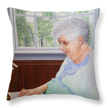 Throw Pillow featuring the painting Margret Lawson by Mike Ivey