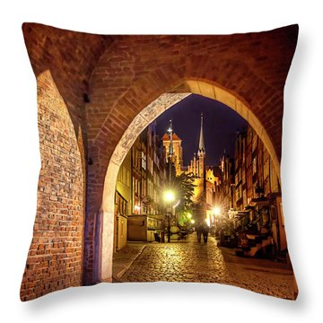 Throw Pillow featuring the photograph Mariacka By Night  by Carol Japp