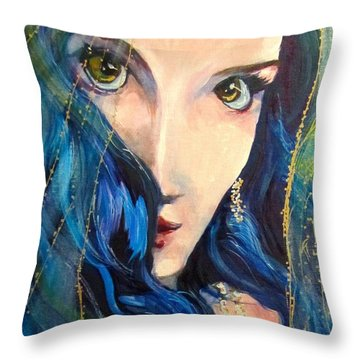 Mariah Blue Throw Pillow