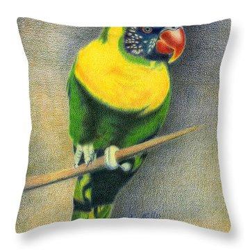 Marigold Lorikeet Throw Pillow