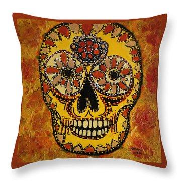 Marigold Skull Throw Pillow