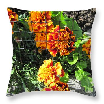 Marigolds In Prison Throw Pillow