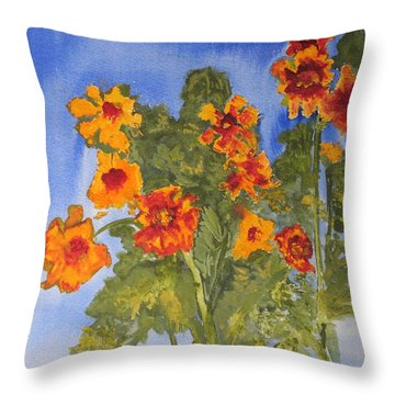 Throw Pillow featuring the painting Marigolds by Sandy McIntire
