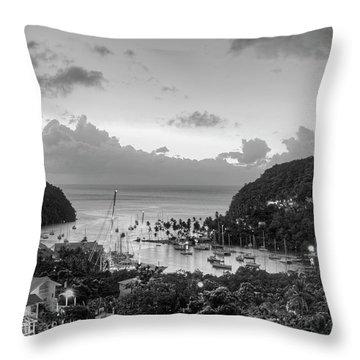 Marigot Bay Sunset Saint Lucia Caribbean Black And White Throw Pillow