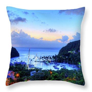 Marigot Bay Sunset Saint Lucia Caribbean Throw Pillow