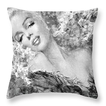 Marilyn Cherry Blossom Bw Throw Pillow