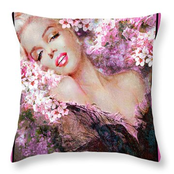 Marilyn Cherry Blossoms Pink Throw Pillow