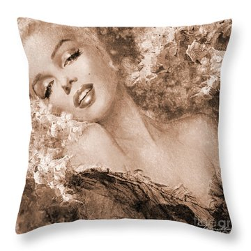 Marilyn Cherry Blossoms, Sepia Throw Pillow