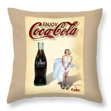 Throw Pillow featuring the photograph Marilyn Coca Cola Girl 3 by James Sage
