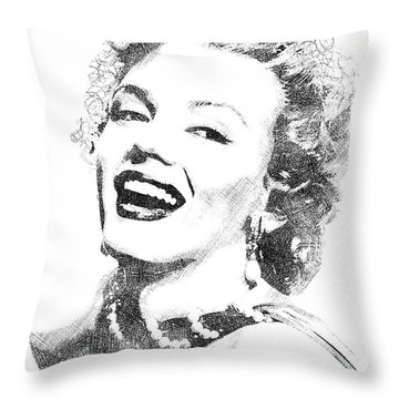 Marilyn Monroe Bw Portrait Throw Pillow by Mihaela Pater
