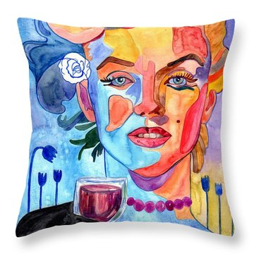 Marilyn Monroe Drinking Wine Throw Pillow