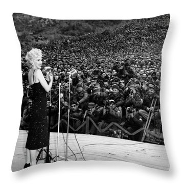 Marilyn Monroe Entertaining The Troops In Korea Throw Pillow by American School