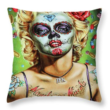 Marilyn Monroe Jfk Day Of The Dead  Throw Pillow