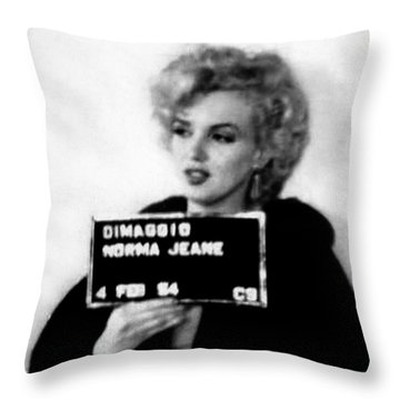 Marilyn Monroe Mugshot In Black And White Throw Pillow