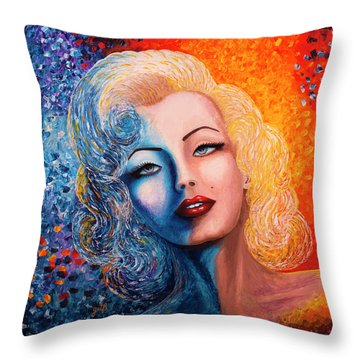 Throw Pillow featuring the painting Marilyn Monroe Original Acrylic Palette Knife Painting by Georgeta Blanaru