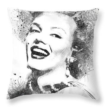 Marilyn Monroe Scribbles Portrait Throw Pillow