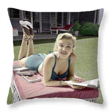 Marilyn Monroe Summer Reading Throw Pillow