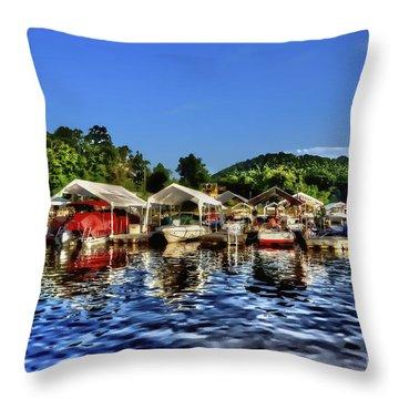 Marina At Cheat Lake Clear Day Throw Pillow