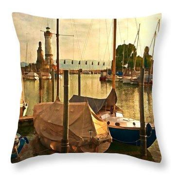Marina At Golden Light - Digital Paint Throw Pillow
