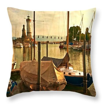 Marina At Golden Light - Digital Paint Throw Pillow