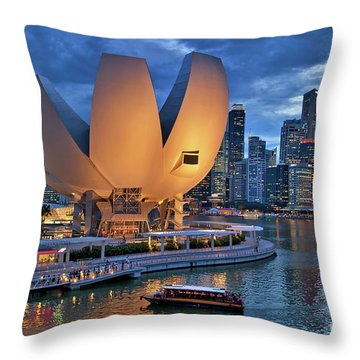 Throw Pillow featuring the photograph Marina Bay Sands Resort With The Singapore Skyline by Sam Antonio Photography