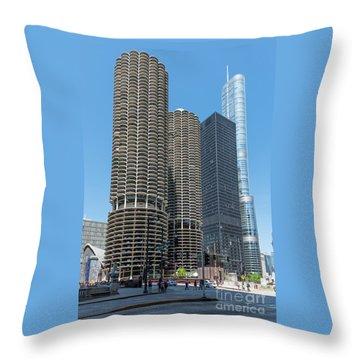 Marina City, Ama Plaza, And Trump Tower Throw Pillow