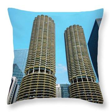 Throw Pillow featuring the photograph Marina City Chicago by Deborah Smolinske