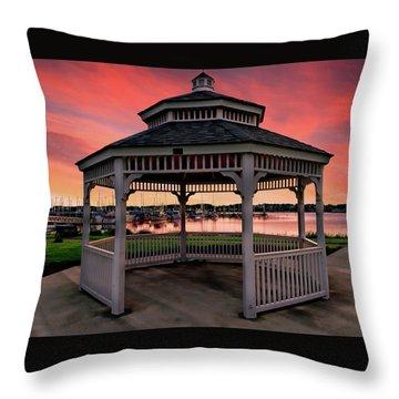 Marina Gazebo Sunset Throw Pillow by Rick Lawler