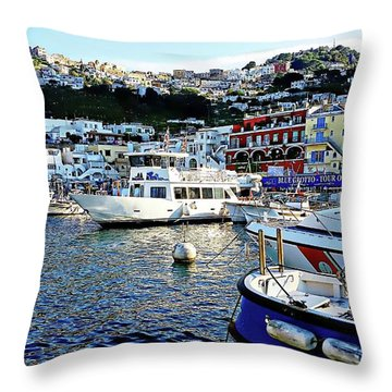 Throw Pillow featuring the digital art Marina Grande - Isle Of Capri by Joseph Hendrix