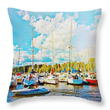 Marina In The Summertime Throw Pillow