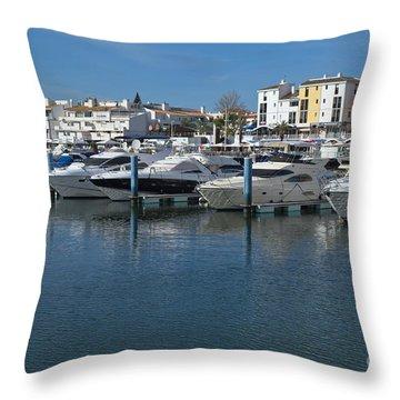 Marina In Vilamoura - Algarve Throw Pillow by Angelo DeVal