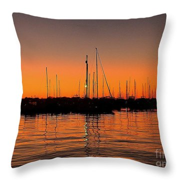 Marina Moonlight Masts Throw Pillow