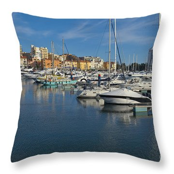 Marina Of Vilamoura At Afternoon Throw Pillow