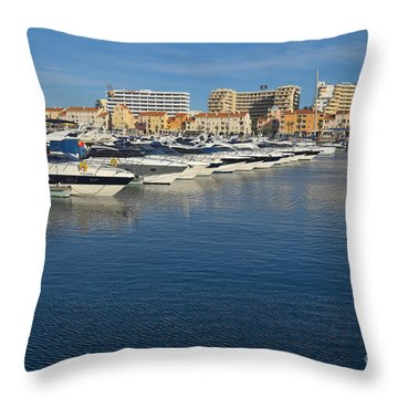 Marina Of Vilamoura During Afternoon Throw Pillow by Angelo DeVal