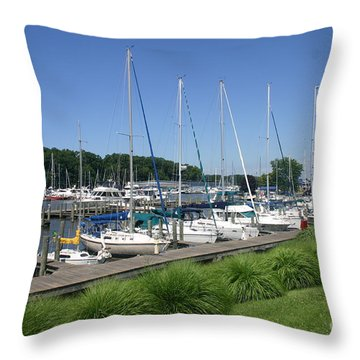 Marina On Black River Throw Pillow