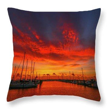 Marina Sunrise - Ft. Pierce Throw Pillow