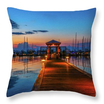 Throw Pillow featuring the photograph Marina Sunrise by Tom Claud