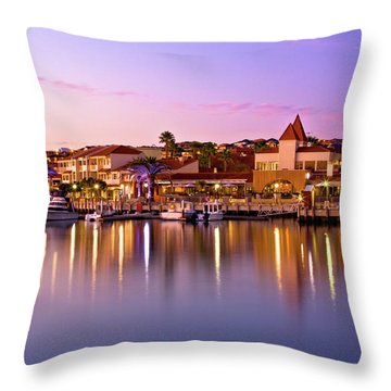 Marina Sunset, Mindarie Throw Pillow by Dave Catley