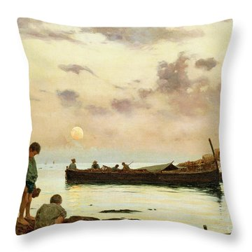 Marina With A Fishing Boat And Boys Throw Pillow