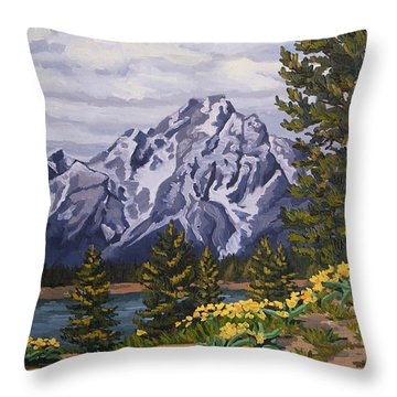 Throw Pillow featuring the painting Marina's Edge, Jenny Lake, Grand Tetons by Erin Fickert-Rowland